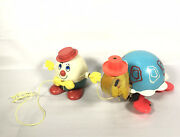 Lot 2 Vintage 1962 Fisher Price Humpty Dumpty And Timmy Turtle Pull Toy Along Toys