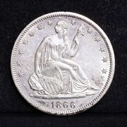 1866-s Liberty Seated Half Dollar - With Motto - Unc Details 34515