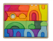 Colorful Wooden Castle Blocks And Puzzle Set