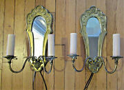 Pair Of Antique French Style Floral Mirrored Wall Sconces Lighting Brass And Metal