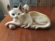 Vintage Hull Pottery 63 Siamese Mother Cat And Kitten Planter