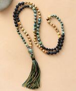 Mala Beads Lava Necklaces 108 Long Tassels Natural Stone Energy Knotted Necklace