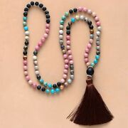 Mala 6mm Lava 108 Beads Tassels Necklace Natural Stone Knotted Yoga Necklaces