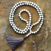 Tassel Necklace Howlite Beads 108 White 8mm Beaded Knotted Mala Yoga Necklaces