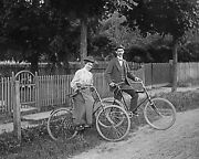 Couple On Bicycle Ride Early 1900s Cycling Fashions Vintage Photo Reprint