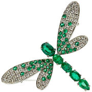 1.24ct Natural Round Diamond 14k Solid White Gold Emerald Butterfly Brooch Pin