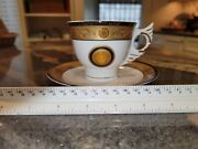 Versace Tea Cup And Saucer Medusa Gold Black And White Greek Key Beautiful
