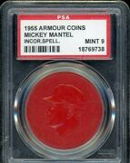 1955 Armour Coins Baseball 13 Mickey Mantle Mantel Red Psa 9