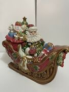 Large Collectible Fitz And Floyd Cookie Jar, Santa's Sleigh Holiday Centerpiece