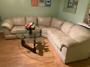 Leather Sectional Sofa Couch Beige Cream Large L Shape Used