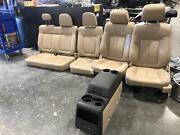 09-14 Ford F150 Front Rear Seat Console Bucket Tan Leather/power