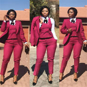 Women Red Suit Ladies Double Breasted Plus Size Office Tuxedos Formal Work Wear