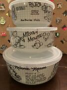 Sketch Book Mickey, Minnie And Pluto 3 Piece Ceramic Food Storage Containers New