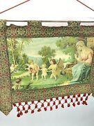 Antique Madonna Child And Angels Hand Painted Italian Woven Tapestry 19th Century