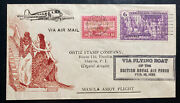 1936 Manila Philippines First Amoy Flight Airmail Cover British Flying Boat