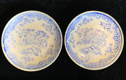 2 Antique Japanese Blue Willow Transferware 3 3/4andrdquo Small Dishes