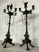 Superb Pair Of French Victorian Figural Bronze Candelabra. Turtle/ Heron And Snake