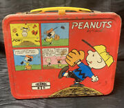 Vintage Peanuts Snoopy Charlie Brown Metal Lunch Box 1965 By Schultz -no Thermos