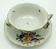 Herend Footed Cup And Saucer Set 734 Fruits And Flowers Bfr Tea / Coffee Vintage