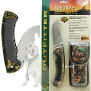 Ruko Stainless Steel Folding Knife W/gut Hook And Wx-3d Camo Handle T