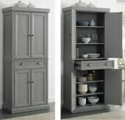Tall Kitchen Pantry Storage Cabinet Utility Cupboard Closet Cottage Wood Gray
