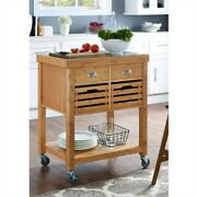Kitchen Cart Stainless Steel Top Bamboo Wood Casters Drawer Shelf Basket Storage