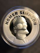2021 Tuvalu Homer Simpson 2 Oz Silver Proof High Relief Coin