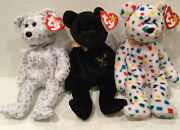 """Ty """"the Beginning"""" And """"the End"""" Beanie Baby Bears Mint Condition"""