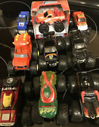 Lot Of 9 Hot Wheels Monster Truck 2008 Tmnt Spectraflames Iron Man Grave Digger
