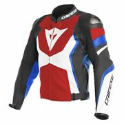 Dainese Avro 4 Mens Leather Motorcycle Jacket Lava Red/white/blue