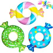 Inflatable Swim Rings 3 Pcs, Summer Candy Swimming Floatie Pool Floats Kids