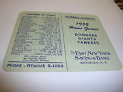 1952 Baseball Schedule Good Condition New York Teams Yankees Giants Dodgers Rare
