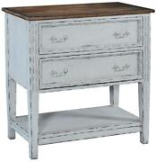 Chest Lafitte Solid Wood Distressed White Finish Rustic Pecan 2 Drawers