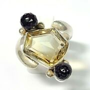 Sterling Silver Odd Cut Citrine And Round Faceted Amethyst Ring Size 8