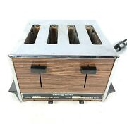 Vintage Ge General Electric 4 Slice Toaster A9t128 Chrome And Faux Wood Grain
