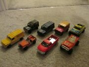 8 Assorted Toy Trucks And Landrovers, Metal And Plastic, 7cm Long, Matchbox And Corgi