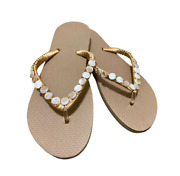 Sandals Flip Flops Womens Size 7/8 Handcrafted With Seashells And Silk Lace Thread