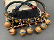 Unusual Early Miriam Haskell/ Hess Brass Ball Crystal Charm Necklace Vintage