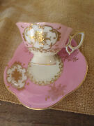Occupied Japan Footed Tea Cup And Saucer Ucagco China Pink Gold Florals