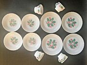 Vintage Termocrisa Holly/berry Milk Glass 4 Dinner Plates 4 Salad Bowls 4 Cups