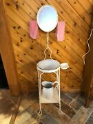 Antique Twisted Wire Two Tier Shaving/wash Stand Oval Mirror Circa 1900