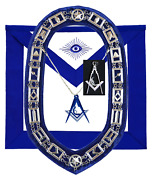 Masonic Blue Lodge Officer Junior Deacon Apron Silver Chain Collar And Jewel