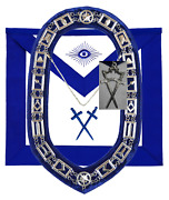 Masonic Blue Lodge Officer Sentinel Apron Silver Chain Collar And Jewel
