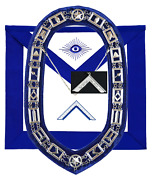 Masonic Blue Lodge Officer Worshipful Master Apron Silver Chain Collar And Jewel