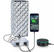 Mbl Square Modern Silver Crystal Table Desk Lamp With 2 Usb Charging Ports