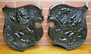 Griffin And Lion Old Cast Iron Decorative Arts Plaques High Relief Architectural