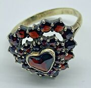 14k Yellow Gold Heart Valentines Authentic Garnet Vintage Ring Germany Sz 8.5