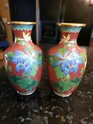 Jingfa Brass Cloisonne Mirrored Pair Of 7 Vases Blue And White Flowers
