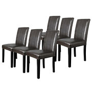 6 Pcs Dining Room Parson Chairs Kitchen Formal Elegant Leather Design At Home