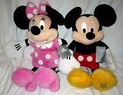 Disney Store Mickey Mouseandminnie Mouse 27 Soft Plush With Genuine Patch New